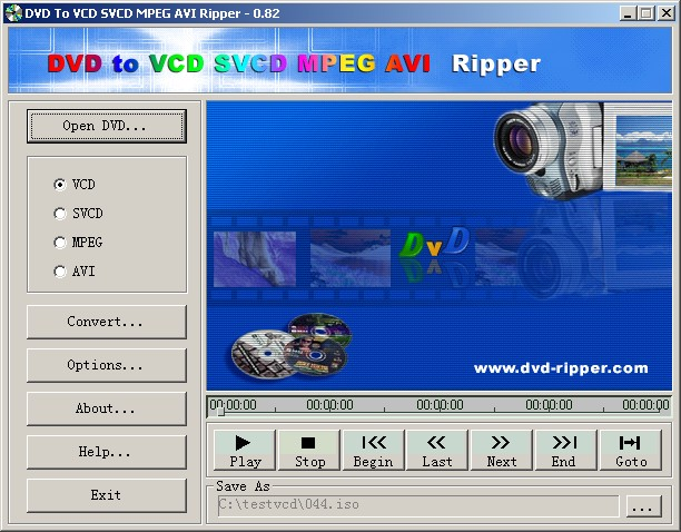 Convert DVD to VCD, SVCD, MPEG, AVI quickly. Easy-to-use and on-the-fly.